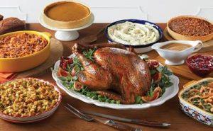 Full Thanksgiving dinner including pumpkin pie