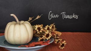 White pumpkin, fall decor and Give Thanks