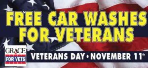Grace for Vets poster for Free car washes for vets