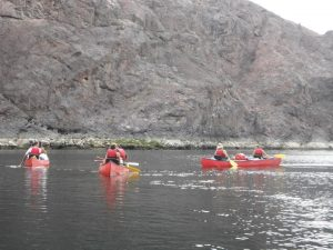 four red Canoes on the Blackwater River below Lake Mead