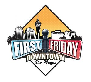 First Friday festival Downtown Las Vegas logo with city skyline