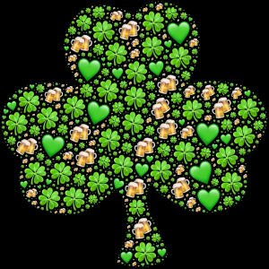 St. Patrick's day Shamrock with small shamrocks and mugs of beer