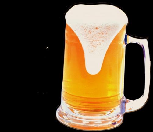 A single stein of golden beer, flowing over the glass.