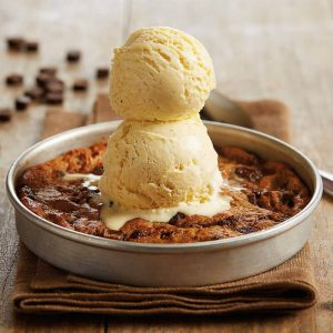 Free Pizookie at BJ's, fresh baked chocolate chip cookie with 2 scoops of ice cream