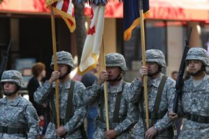 Soldiers marching in Veterans Day Parade