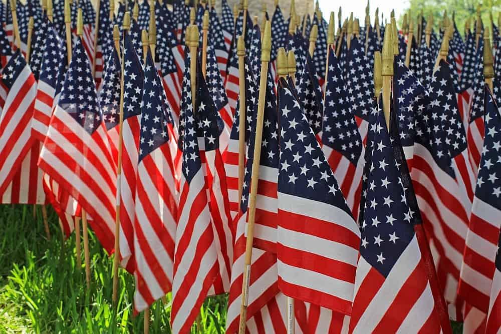 Memorial day American flags, taps across America