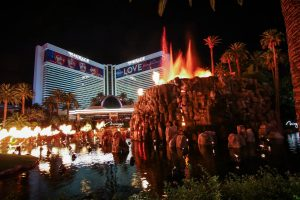 The Mirage volcano exploding, one of the manyfree things to do in Vegas