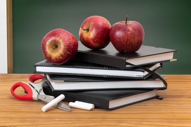 teacher discounts, apples, books, school supplies