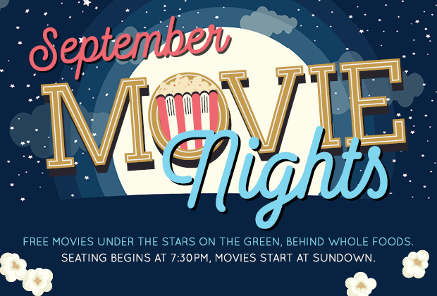 Free outdoor movie nights poster, the moon and stars and popcorn