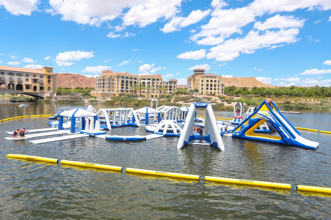 Lake Las Vegas Water Sports Aqua Park, floating obstacle course with giant slides.