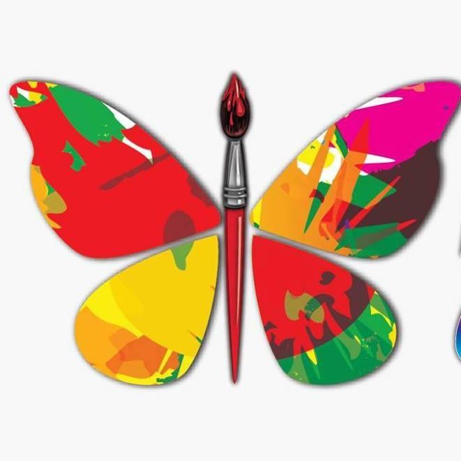 Butterfly paintbrush logo for Artisan Craft Festival