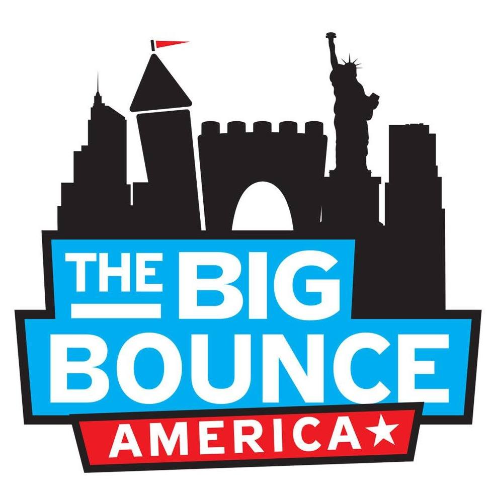 The Big Bounce America logo, black castle, blue and red.