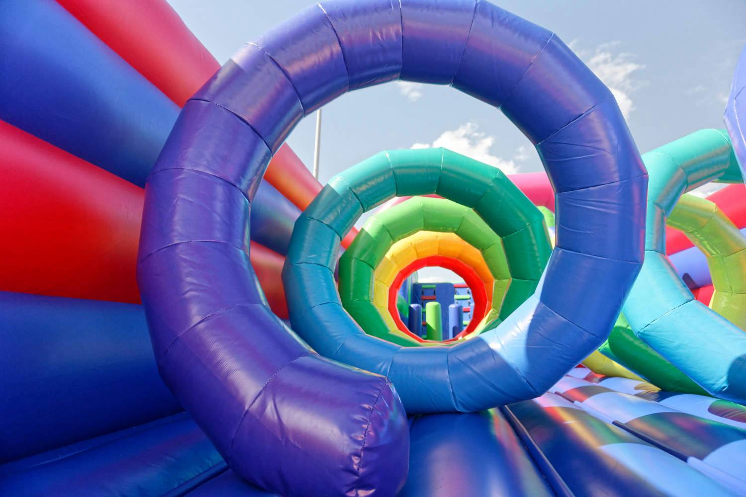 Inflatable bounce house spiral in all different colors