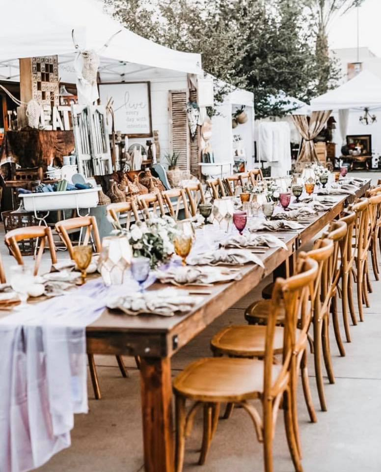 Vintage Market Days long table shabby chic set up and tents with items for sale