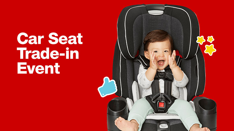 Target's Car Seat trade-in event poster with child in a car seat