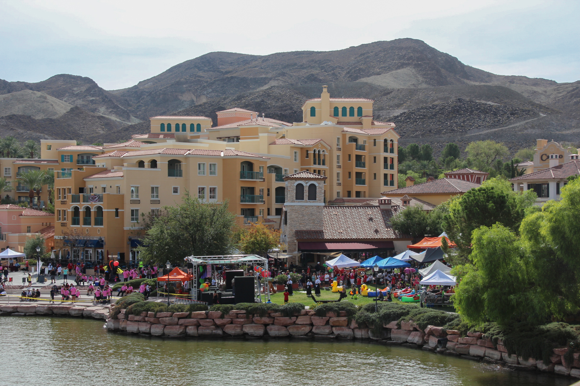 Festival tents and crowd at the waters edge at lake Las Vegas