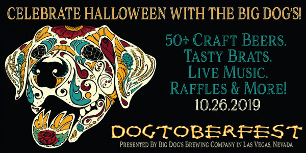 Dogtoberfest event poster for Big Dog's Brewing with dog head pictured