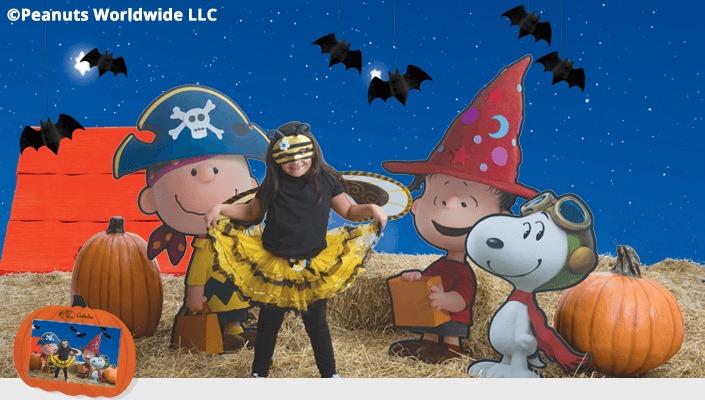 Bass Pro Shops Peanuts photo backdrop at Halloween event