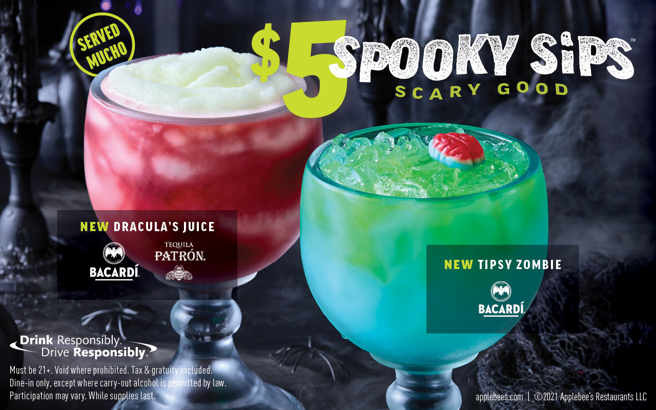 Applebee's $5 spooky sips for the month of october