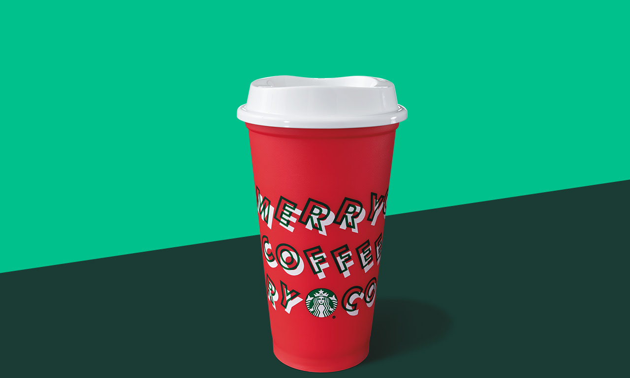 Starbucks reusable red holiday cup