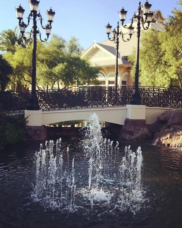 Bridge and fountain in center Town Square