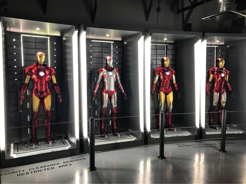Ironman suits at the Marvel Avengers station attraction
