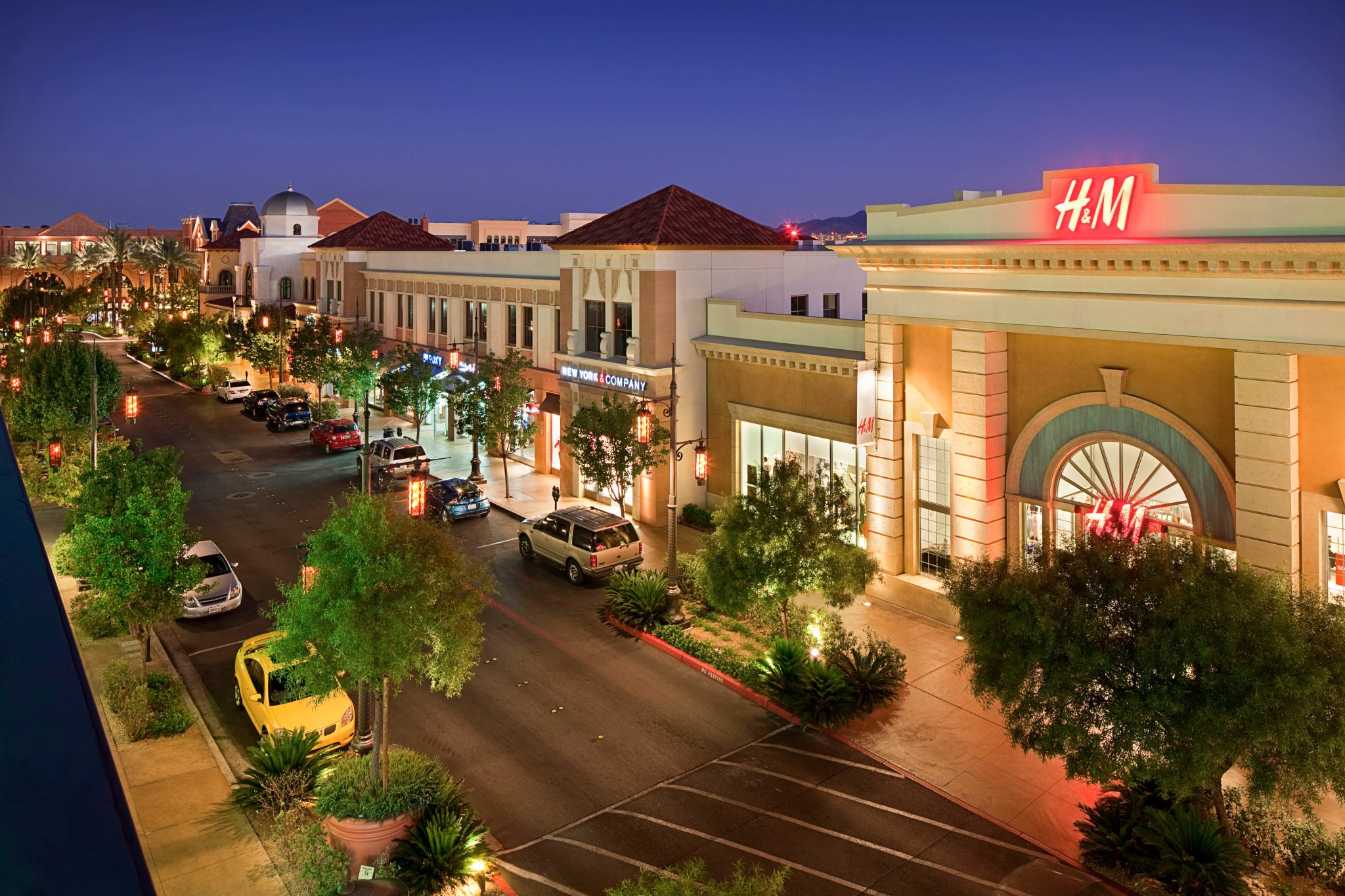 Town Square streets pictured at night events and discounts