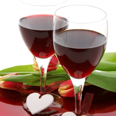 two wine glasses with hearts for valentines day