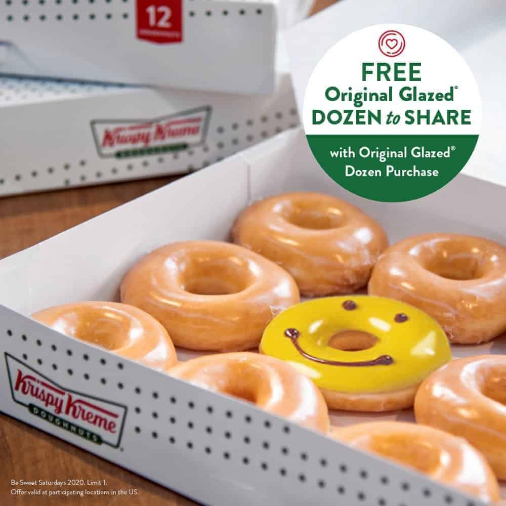 Krispy Kreme sweet saturdays free glazed dozen to share