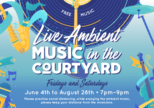 summer live music in the courtyard at the district