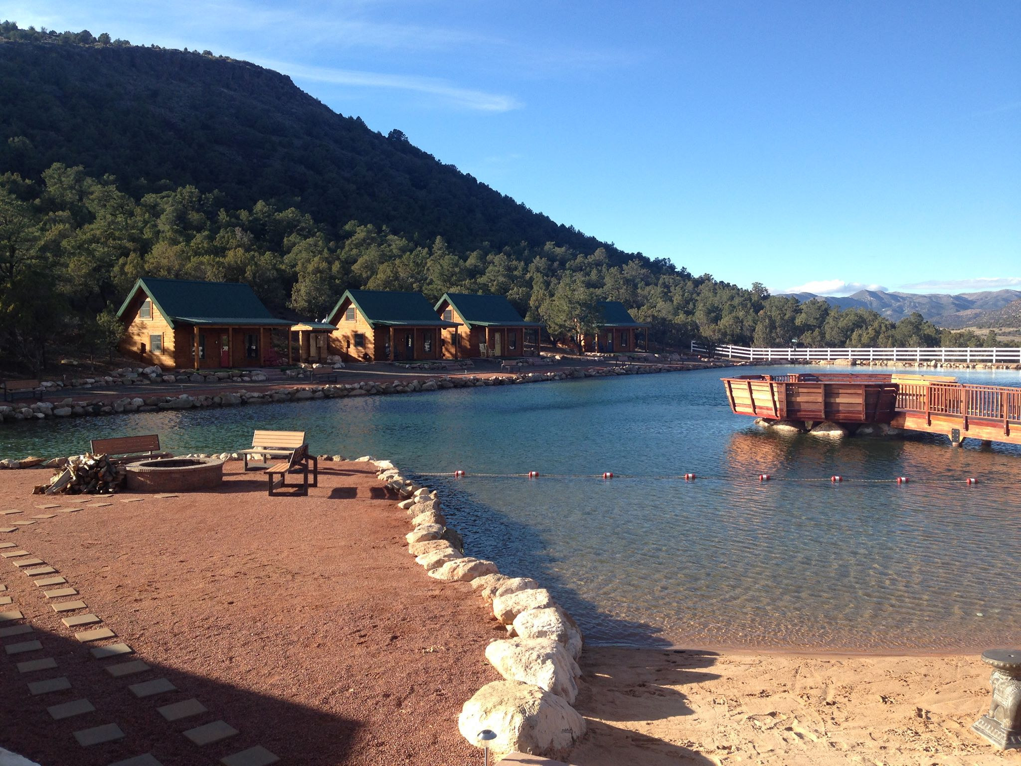 Holmstead Ranch Resort beach, lake and cabins