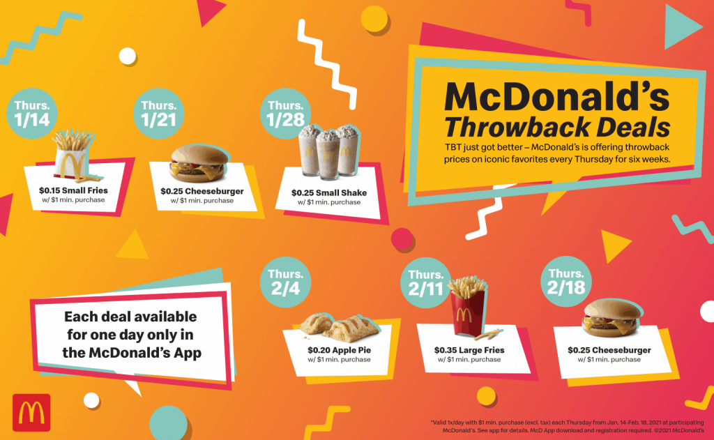 McDonald's throwback thursday with throwback prices