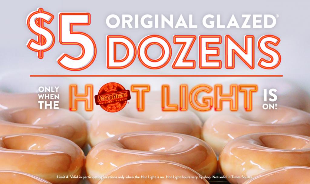 Krispy Kreme hot light deal, $5 original glazed dozens