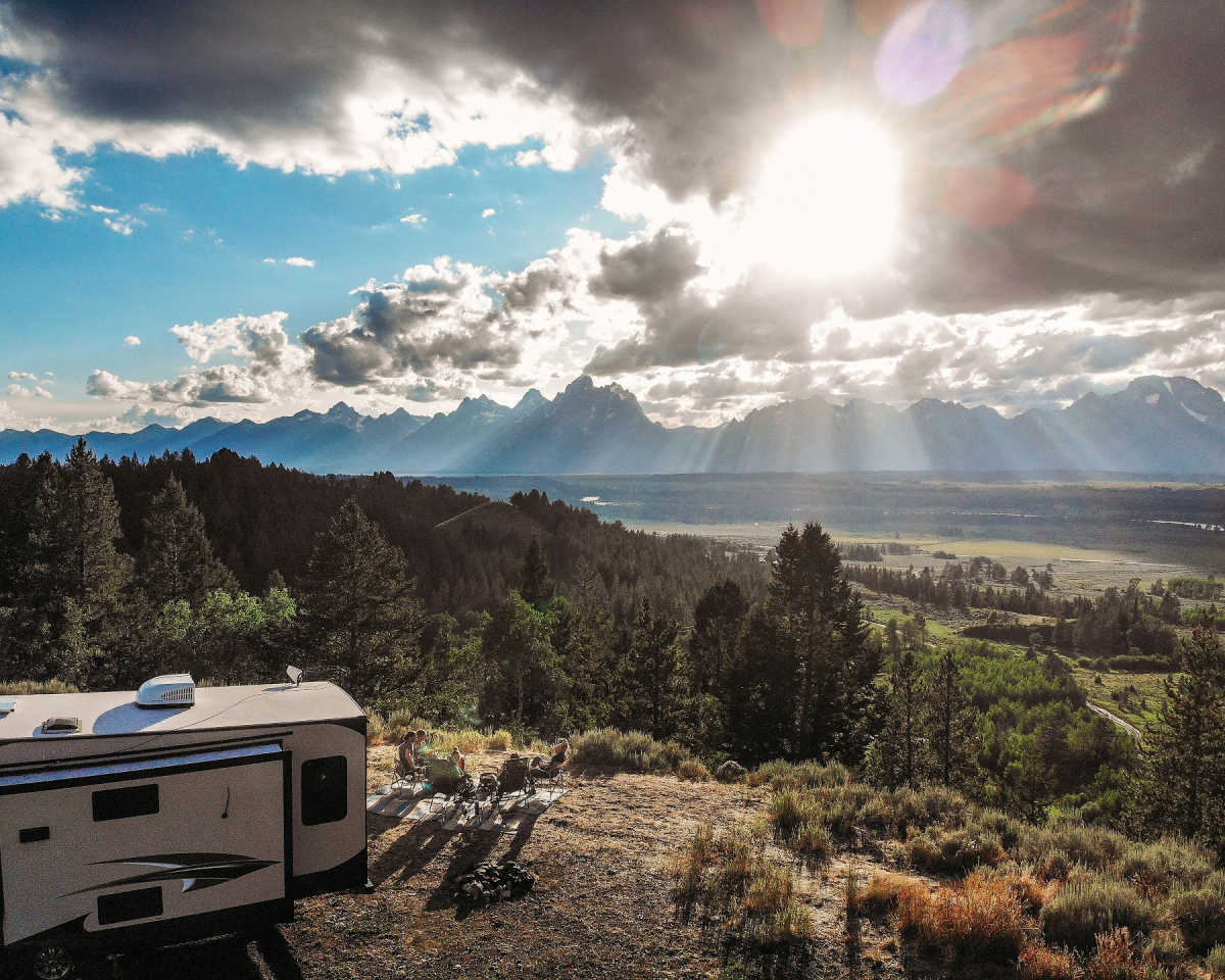 RV sitting over a great view