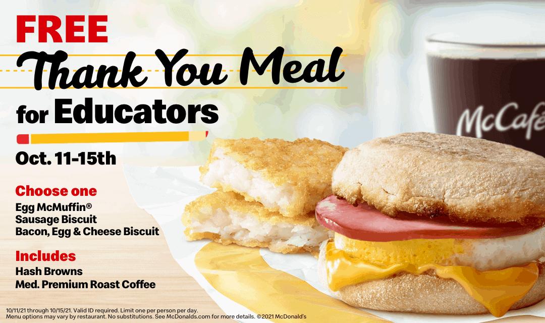 free breakfast at Mcdonald's for school staff